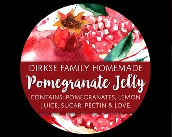 Customized Pomegranate Canning Label - Pomegranate Jelly - Watercolor Style Canning Jar Label - Wide Mouth & Regular Mouth