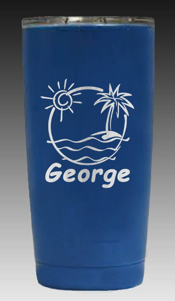 20 oz Beach themed powder coated yeti - reg finish or candy coated clear finish with name