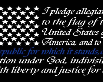 American flag pledge of allegiance thin blue line window decal
