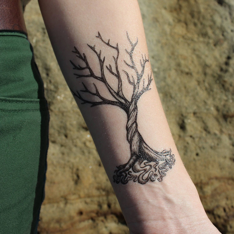 Dead tree twisted roots temporary tattoo winter tree for Dead tree tattoos