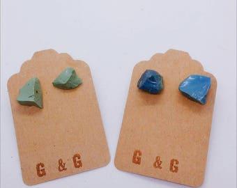 Stud Earrings - Blue - Green - Slag glass - [steel byproduct] - Stainless Steel - STEEL CITY