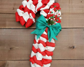 Candy cane wreath burlap candy cane Christmas wreath winter wreath emerald green bow front door wreath berry wreath rustic Christmas wreath