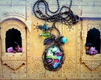 under glass Locket necklace