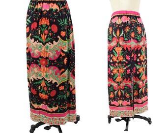 70s Baroque Floral Print Maxi Skirt-1970s Bohemian Skirt