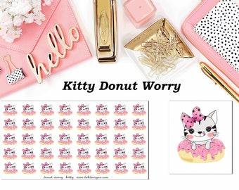 Kitty Donut Worry//Planner Character Stickers//EC//HP