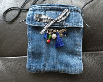 Case lined pouch pockets MP3 camera denim recycled bow tassel charms, handmade