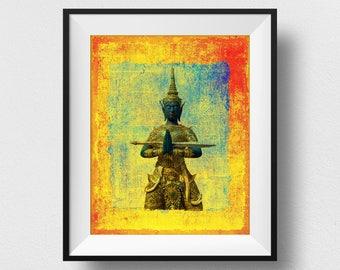 Thai Angel Art, Thailand Angel Painting, Thai Angel Statue Print, Orient Art, Spiritual Thailand Print, Thailand Home Decor (N533)