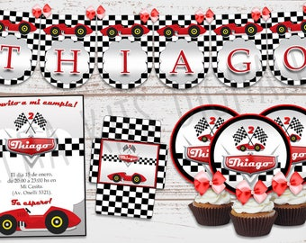 "Luxury printable Kit ""car Vintage"" decoration birthday parties baby. Candy Bar. Customized, ready to print."