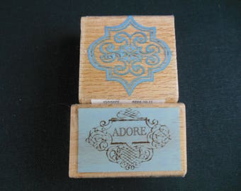 Adore Swirl and Baroque Design Mounted Rubber Stamp
