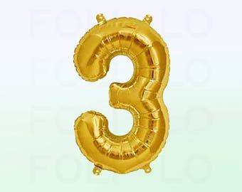 Metallic Gold Number 3 Balloon | Gold 3 Birthday Balloon | Gold Number 3 Balloon | Jumbo Number 3 Balloon