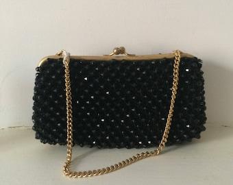 1970s vintage small shimmery black handbag evening bag with gold chain - Seventies Glam Glitter Ball Studio 54 Disco