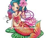SALE-Digital Stamp, Digi Stamp, digistamp, Liliana Mermaid by Conie Fong, Coloring Page, mermaid, girl, fantasy, flower, waterlily