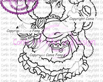 digital stamp, digi stamp, digistamp, Sally and Snowball by Conie Fong, Christmas, Girl, cat, kitty, winter, scrapbooking, coloring page