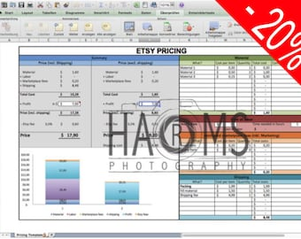 Pricing template - Excel spreadsheet to calculate your price