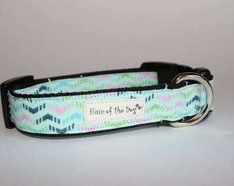 Mint Green with Multi Colored Stripes DoG Collar