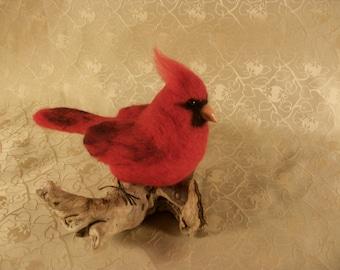 Felted Cardinal, Needle Felted Bird, Northern Cardinal Sculpture