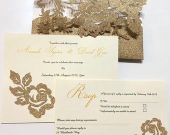 Handmade glitter floral pocket folder wedding invitations