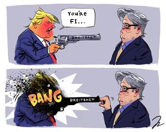 Steve Bannon/Trump cartoon
