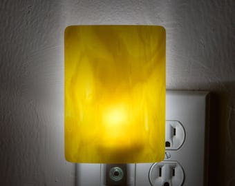 Abstract Buttery Yellow Plugin Night Light - Two Tone Bright LED Nightlight - Night Lamp - Nite Lite - Light Sensing LED Bulb  - 3331