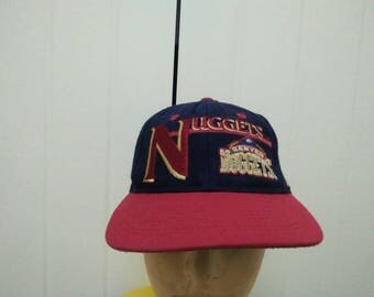 Rare Vintage DENVER NUGGETS Big Logo Embroidered Spell Out Cap Hat Free size fit all