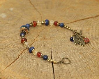 Beaded bracelet art, fine stones and brass - Lapis Lazuli, Carnelian, Citrine