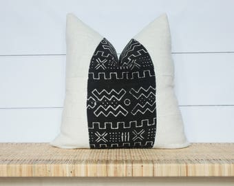 Mudcloth Pillow Cover | Authentic African Mud Cloth | 22x22