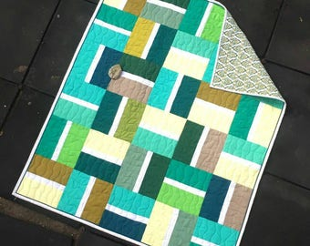 Modern lap quilt,  baby Quilt,  crib quilt,  aqua blue and green quilt,  patchwork quilt sale,  Handmade Quilt,  baby shower gift, quilt sal