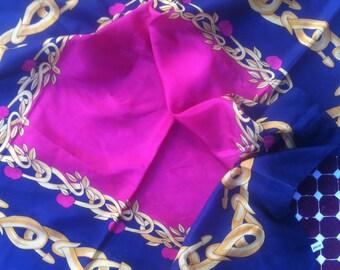 silkscarf, foulard, royalblu & red