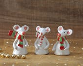 Ceramic Christmas Mice with Red Green White Scarves Stocking Fillers Christmas Tree Presents Unique and Handmade