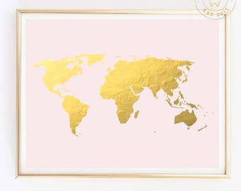 Gold world map etsy gold world map gold foil world map world map wall art gold map gumiabroncs Image collections