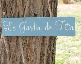 Pancarte pour jardin en bois personnalisable.Pancarte en bois.  French  wood sign. Cadeau crémaillère.