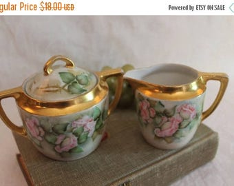 SALE Antique Weimar of Germany Porcelain Sugar Bowl and Creamer Set - Hand Painted Pink Roses, Victorian