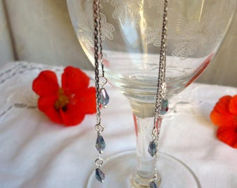 Dangling silver and crystal earrings
