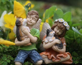 Fairies Dylan and Daisy  - miniature enchanted fairy garden