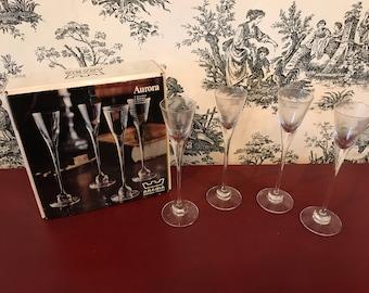 1972 Arabia Fineland, set if 4 Aurora Schnaps glasses, hamd blown glass