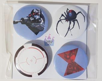 Overwatch Widowmaker buttons/pins/badges 4pcs set