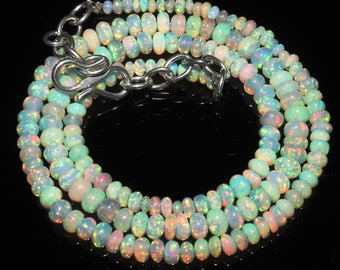 "33 Ctw 1Necklace 2to5 mm 16"" Beads Natural Genuine Ethiopian Welo Fire Opal ET150"