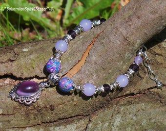 Purple Moonstone Bracelet, Moonstone Bracelet, Purple Jade Bracelet, Lilac Jade Bracelet, Flower Bracelet, Bohemian Bracelet, Gypsy Bracelet
