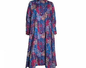 Sheridan Barnett 100% Varuna Wool Liberty Celtic Print Tent Dress 1970s