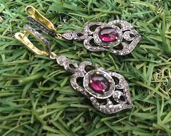 ClassicPinkTourmaline,Tourmaline,Victorian Earring,Pink Tourmaline Earring,Victorian Earring,Rubelite Victorian Earrings,Giftsforher,