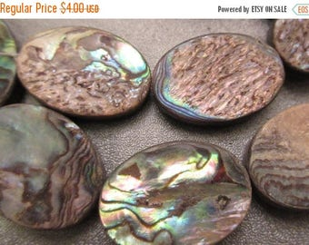 ON SALE 15% OFF Abalone Shell Laminated Oval Beads 5pcs