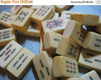 ON SALE 15% OFF Ox Bone Mahjong Tiles Beads Double Side Drilled 9pcs