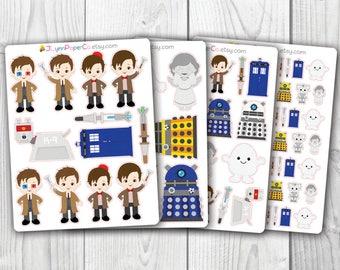 Dr. Who Stickers,  Kawaii, Cute Stickers, Planner Stickers, Pretty,  Erin Condren, ECLP