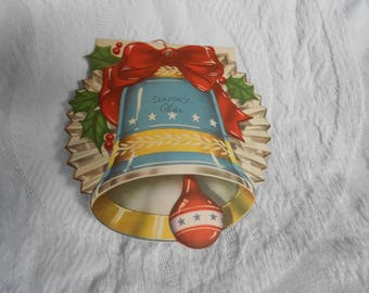 Vintage Unused Christmas Card Bell Ornament - Vintage Christmas Paper Bell Ornament - Vintage Christmas Card - Read to Ship