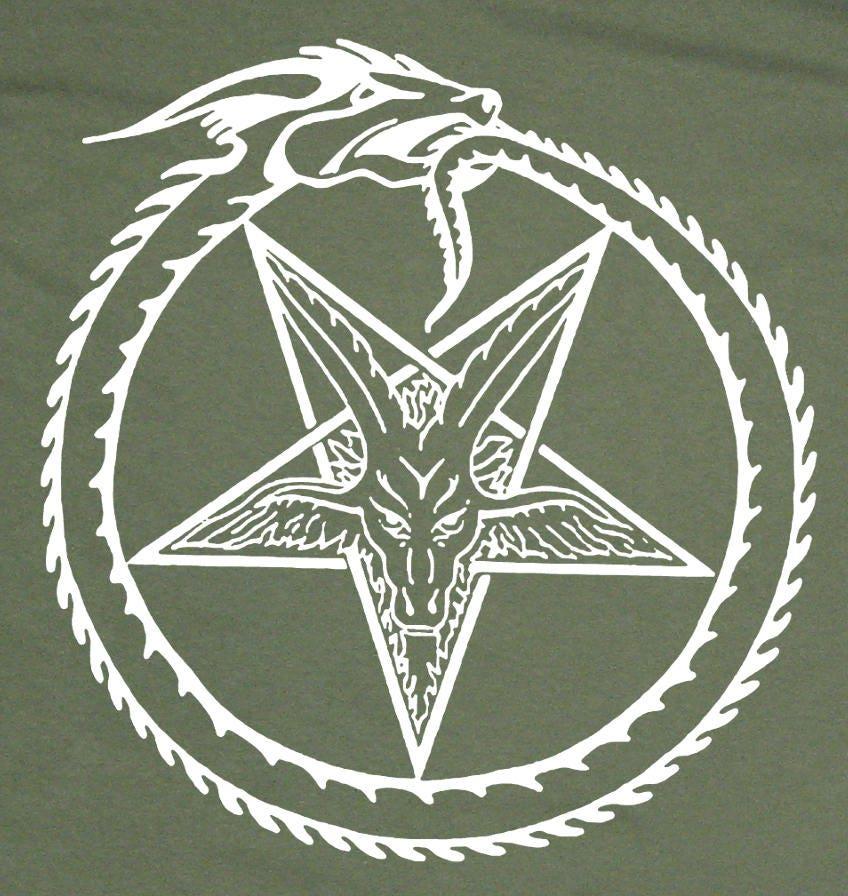 Serpent Pentagram T Shirt Punk Occult Gothic Evil Satan Goats Head