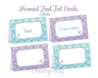 Mermaid Food Tent Cards, Mermaid Party Decorations, Mermaid Birthday/Shower, Editable Food labels, Aqua and Purple, Under the Sea, Digital F