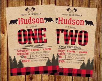 "Lumberjack Birthday Invitation, Lumberjack first birthday invitation, 5""x7"" printable invite, Buffalo Plaid Invitation, Digital File."