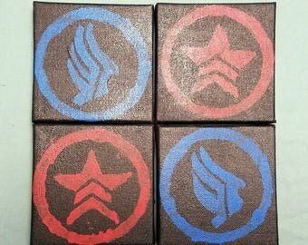 Mass Effect inspired Paragon Renegade painting mini canvas FREE SHIPPING