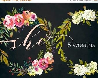 45% off 2 days Watercolor Floral Wreaths Clipart Digital Flowers Pink Peach Peonies PNG Wreaths Clip art Set DIY Wedding Invitation Frames H