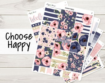 A La Carte | Choose Happy Weekly Kit | Planner Stickers Sized for EC Vertical